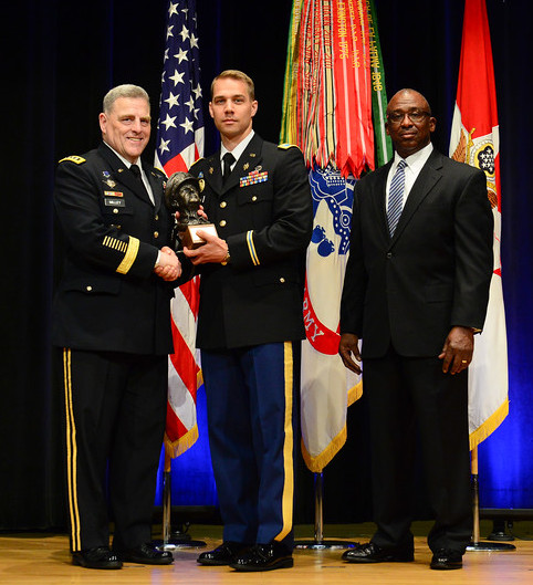 The Chief of Staff of the Army Gen. Mark A. Milley and James Wofford of the Gen. MacArthur Foundation honor 1st Lt. Jason Gehrke with the MacArthur Leadership Award | Courtesy Depatement of Defense